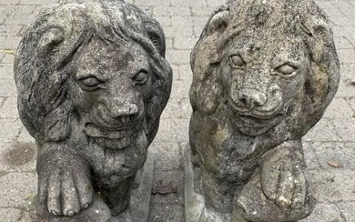 Pair Neoclassical Style Figural Lion Garden Statue