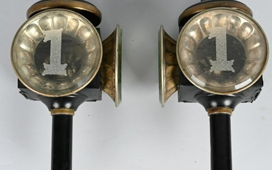 Pair of Brass Engine Lamps two lenses