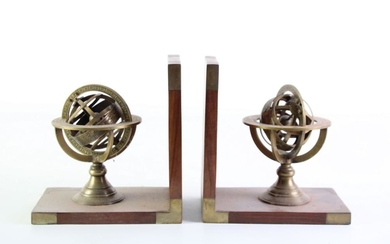 Pair of Brass Globe Form Book Ends (H15.5cm)