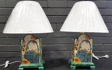 Pair of Square Wooden Table Lamps - 3206