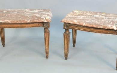 Pair of marble top stands each with brown marbles, ht.