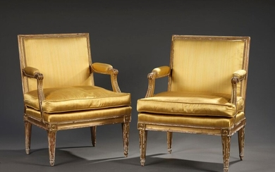 Pair of small low moulded and gilded wood canopies stamped L. C. Carpentier, Transition