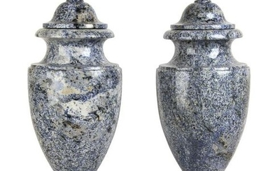Pair of twin marble vases