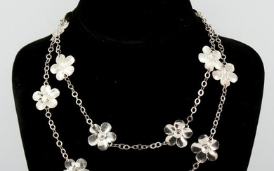 Paola Valentini Silver Flower Link Necklace