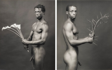 ROBERT MAPPLETHORPE (1946–1989), Dennis with flowers, 1983 and Dennis with thorns, 1983