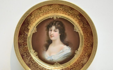 """ROYAL VIENNA STYLE PORTRAIT PLATE OF """"AMICITIA"""""""