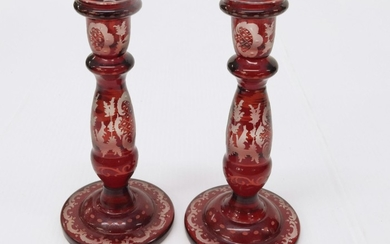 RUBY FLASH GLASS CANDLESTICKS