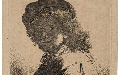 Rembrandt van Rijn (1606-1669) Self-Portrait in a Cap and Scarf with the Face dark