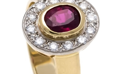 Ruby-Brilliant-Ring GG / WG 585/000 with an oval...