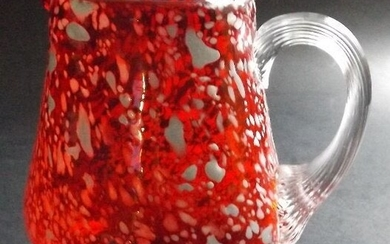 Ruby Red Small Hand Blown Art Glass Pitcher, Creamer