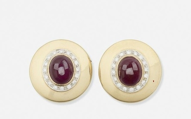 Ruby, diamond, and yellow gold ear clips