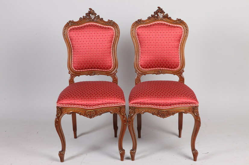 SET FOUR ANTIQUE FRENCH LOUIS XV STYLE CARVED WALNUT UPHOLSTERED...