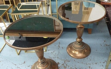 SIDE TABLES, a pair, pedestal base, gilt metal, with mirrore...