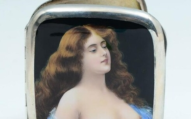 SILVER GILT CIGARETTE CASE ENAMEL NUDE BEAUTY