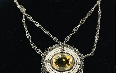 STERLING SILVER, SEED PEARL & CITRINE NECKLACE
