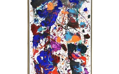"Sam Francis ""Untitled"" acrylic on paper laid on canvas"