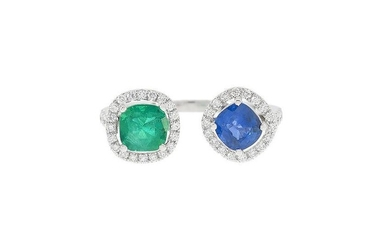 Sapphire and Emerald Between-the-Finger Ring