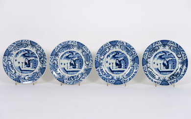 "Series of four 17°/18° century Chinese Kang Hsi plates in porcelain with blue-white decor with bird-catcher - diameter : 19 cm ||series or 17th/18th Cent. Chinese ""Kang Hsi"" plates in porcelain with blue-white decor with bird catcher"