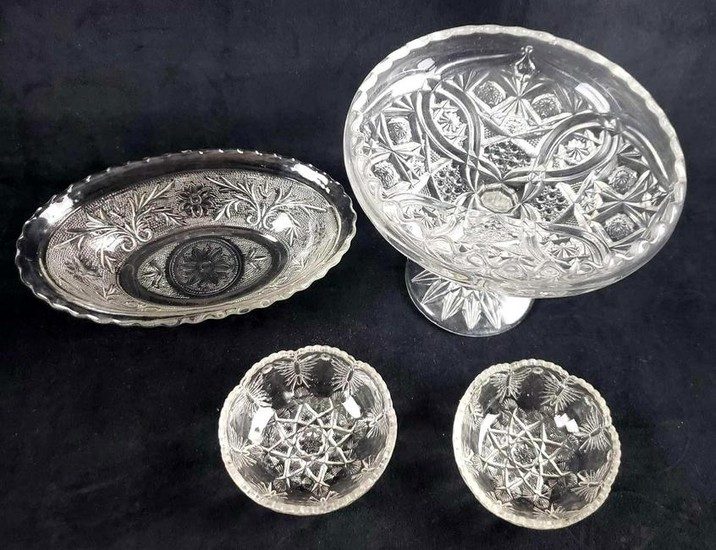 Set of 4 Pressed Glass Items with Scalloped Edges