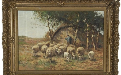Shepherd with flock of sheep by the cage, canvas 50x70
