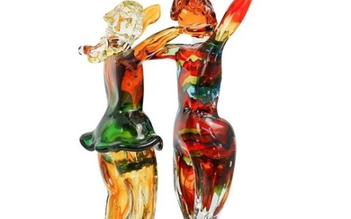 Signed Murano Art Glass Figural Group