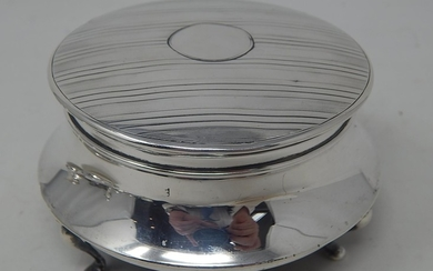 Silver Ring/Jewellery Box of conical form with Engine Turned...