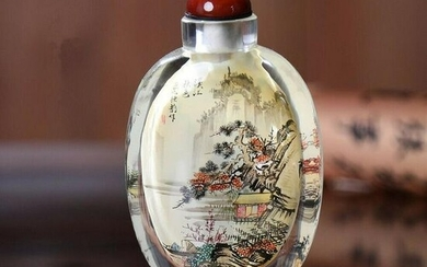Snuff Bottle Chinese Antique Autumn Scenery Mountain