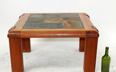 Square coffee table with slate tiled top
