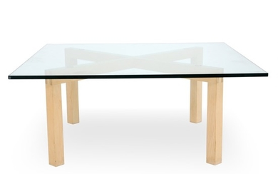 Søren Ulrik Petersen: Coffee table with frame of ash wood. Top of glass. Manufactured by PP Møbler. H. 42 cm. L./W. 100.