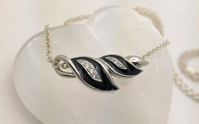 Sterling Black Enamel and CZ Slider Necklace
