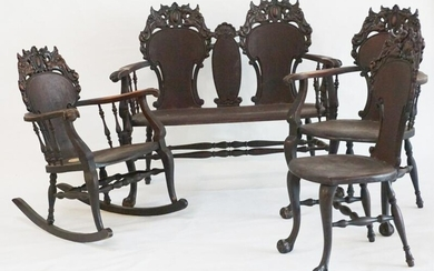 Stickley and Brandt Carved Mahogany Parlor Suite
