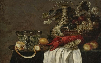 Still life with lobster, fruits and glasses