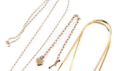 TWO 9CT GOLD CHAINS AND A BRACELET; bracelet attached with a t bar and heart pendant, no clasp, a flat serpent chain (come kinks) 45...