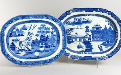 TWO WILLOW PATTERN BLUE AND WHITE SERVING DISHES (one