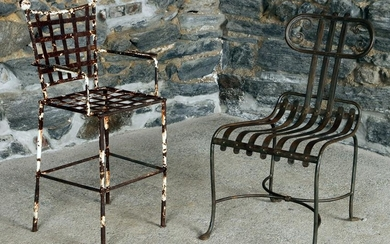 TWO WROUGHT IRON GARDEN CHAIRS