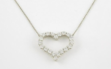Tiffany & Co. Platinum Heart Pendant And Chain, set