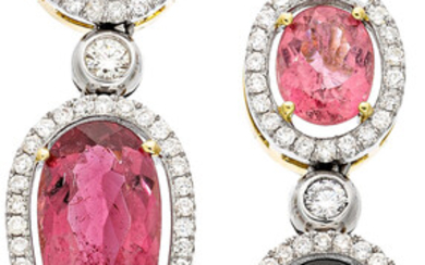 Tourmaline, Diamond, Gold Earrings The earrings feature oval and...