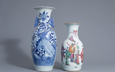 Two Chinese famille rose and blue and white...