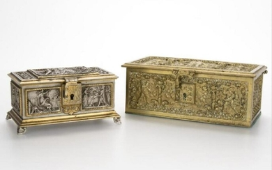 Two Continental Bronze Jewelry Caskets