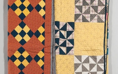 Two Hand-stitched Quilts, America, late 19th/early 20th century, composed of printed fabrics, one with blue and yellow block pattern ag