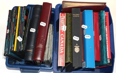 Two Plastic boxes GB Album including Strike mail and various...