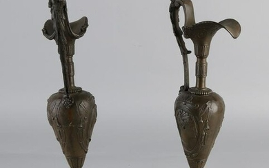 Two antique French composition metal decorative vases