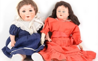 Two composition dolls; both unmarked composition heads, one with leather body.