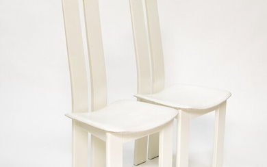 Two dining-room chairs with wooden back and white...