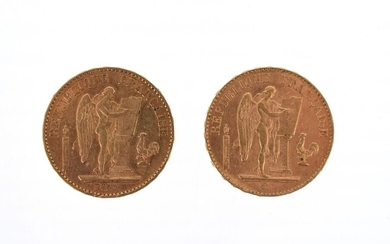 Two gold coins of 20 FF Génie