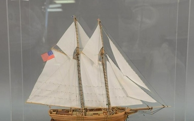 Two masted sailing ship model in plexiglass case, ht.