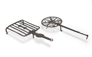 Two wrought iron trivet stands