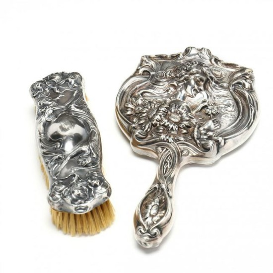 Unger Bros. Sterling Silver Hand Mirror and