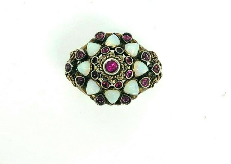 VICTORIAN Ruby Opal Yellow Gold Ring
