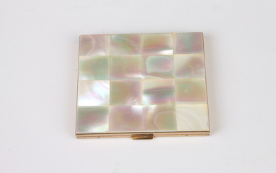 VINTAGE MOTHER OF PEARL AND GOLD-TONE COMPACT MIRROR. Estimate $20-40...